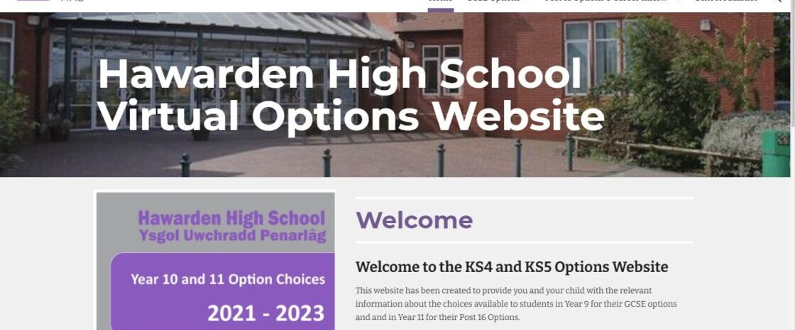 Hawarden High School Virtual Options Website